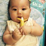 カミカミしている姿がすごくかわいい!歯固めにカミカミBabyバナナ